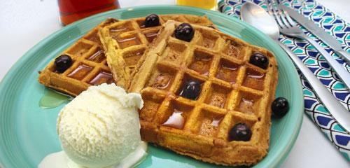 Pumpkin Waffles with Berries