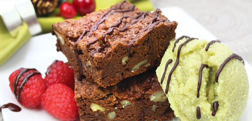 Brownies with Avocado Ice Cream and Berries
